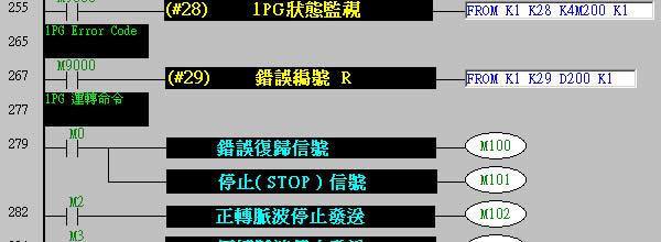 程式范例与解说: 与步进马达接线图: 与 mr-j2s 接线图